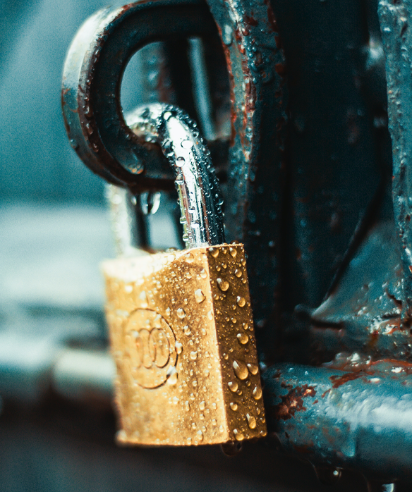 online security represented as a gold padlock
